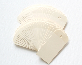 100 Manila CREAM Hang Tag, Gift Tag, Price Tag Die cuts punches cardstock 3 3/4X1 7/8 inch -Scrapbook, cards
