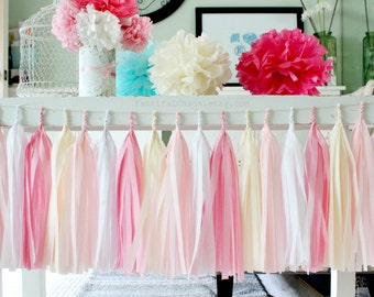Pink, White and Cream Tissue Paper Tassel Garland- Wedding, Birthday, Bridal Shower, Baby Shower, Garden Party Decorations