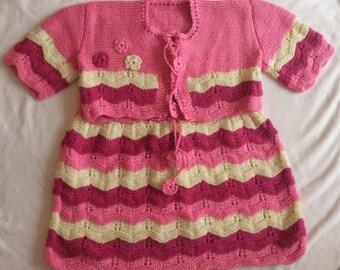 Knitting Baby Girl Dress / Girl  Baby  Dress and Bolero  / Handmade  Knit Dress  / Handmade