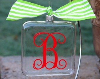 Red Initial Christmas ornament with lime green ribbon