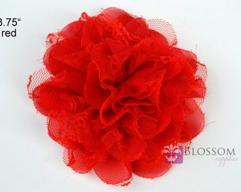 RED Flowers - The Charlotte Collection - Small Shabby Chiffon and Lace Puff Flowers - DIY Headbands - Fabric Flower Head Blossom Supplies