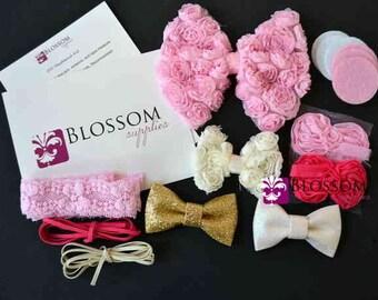 DIY Headband Making Kit - Bow Collection - Chiffon Rose Bows - Bow Headbands - Flower Headbands - Pink White Gold Ivory Hot Pink