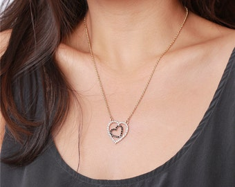 Shinny open hearts gold necklace great for layering - simply everyday jewelry