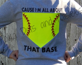 Girls Custom All About That Base Softball Shirt with FREE Monogram