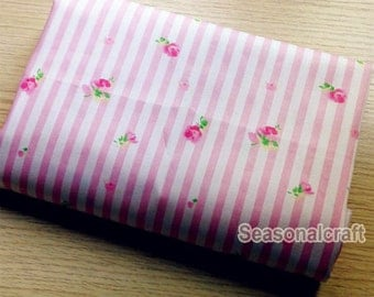 Cotton Fabric Pink Flower Fabric,Shabby Chic Flower Fabric, Pink Stripe, Pink Floral Cotton Fabric 1/2 Yard (QT382)