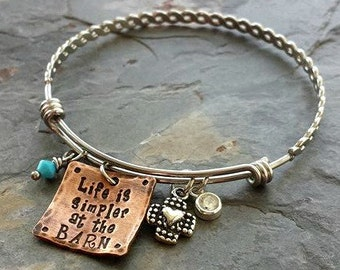 Handstamped Horse Quote Bracelet-Stainless Steel Expandable bracelet-Equestrian jewelry-Horse Lover