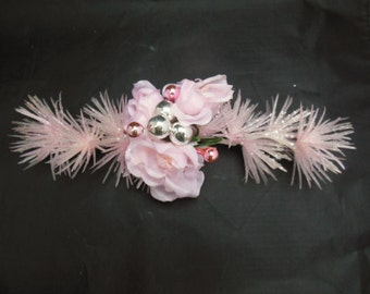 Pink Corsage Christmas Gift Trim with Pink Roses Mercury Glass Balls and Plastic Glittered Sprays