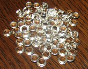 Large Silver Plated Jewelry Bead Cores, Eyelets, Grommets, Fits 5mm Paper Bead Hole, Pkg of 100 Cores - Buy 3 or More, Get 1 More Free