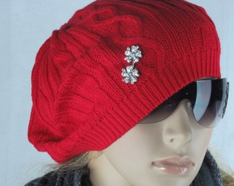Knitted slouchy hat - slouchy beanie- Winter Hat - knitted hat - Womens Hat -- Holidays red -  rhinestone buttons
