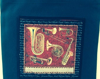 Multiple Brass Instruments on Black Canvas Tote Bag