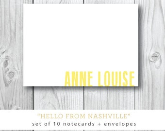 SET of 10 Flat 4x6 Printed Stationery with Blank Envelopes |  Hello From Nashville | Custom Printed Stationery