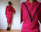 Vtg Pink Black Button Up Collar LS Knit Dress