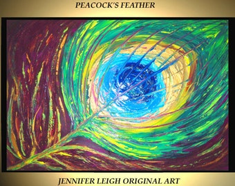 """Original Large Abstract Painting Modern Acrylic Oil Painting Canvas Art  Blue Green Peacock Feather  36x24"""" Palette Knife Texture  J.LEIGH"""