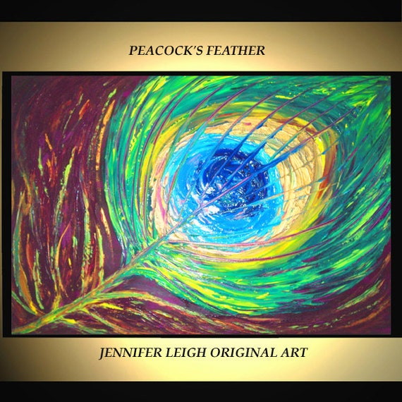 "Original Large Abstract Painting Modern Acrylic Oil Painting Canvas Art  Blue Green Peacock Feather  36x24"" Palette Knife Texture  J.LEIGH"