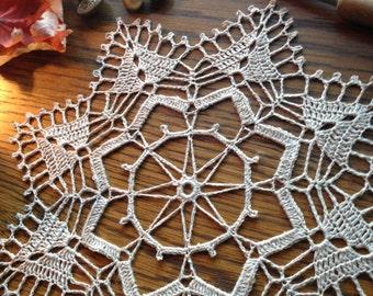 Doily in Linen Crochet by Artistic NeedleWork Centerpiece / Home Decoration / Applique / Reticella / Fiber Art / Table Decoration