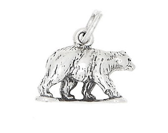 Sterling Silver Grizzly Bear Charm (3d Charm)