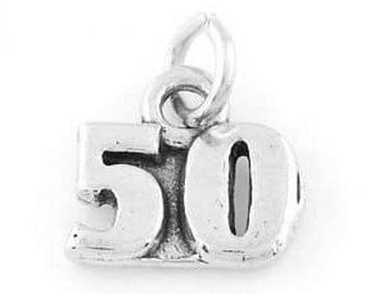 Sterling Silver Number 50 Years Charm (Flat Charm)