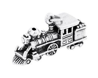 Sterling Silver Large Locomotive Train Engine Charm (3d Charm)