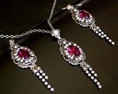Amethyst Jewelry Set 15% OFF Victorian Gothic Swarovski  Necklace Earrings Wedding Necklace Bridal Jewelry Women's Gift