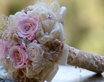Brooch Bouquet Preserved roses Blush Pink and Taupe and Cream Victorian