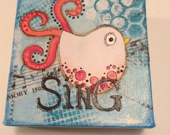 Sing,  4x4 Mixed Media Canvas