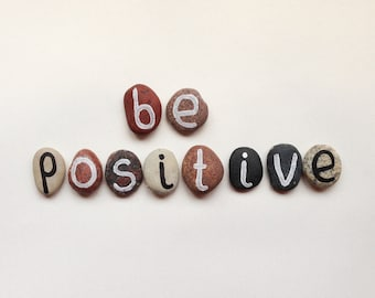 Be Positive, 10 Magnets Letters, Custom Quote, Beach Pebbles by Happy Emotions, Inspirational Words, Gift Ideas, Sea Stones, Personalized