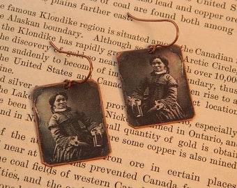 Black History earrings African American jewelry Victorian photo mixed media jewelry