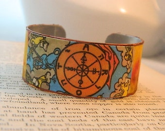 Tarot bracelet tarot jewelry Wheel of Fortune tarot mixed media jewelry