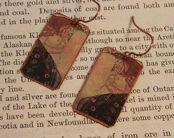 Klimt art earrings Danae earrings Klimt jewelry mixed media jewelry wearable art