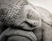 Sleeping Buddha Zen Postcard, Buddha Statue Postcard, Affordable art, Black and White, Zen Art Card