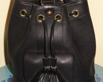 Authentic DOONEY & BOURKE Black Pebble Leather Draw String Single Sling Strap Large Bucket Bag