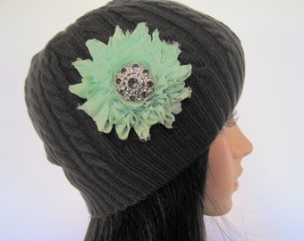 Charcoal Grey Knit Beanie Winter Hat with a Mint Green Chiffon Flower and a Smokey Grey Accent Winter Accessories