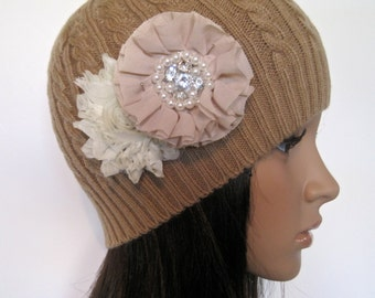 Adorable Khaki Tan Cable Knit Beanie Winter Hat with Champagne and Ivory Chiffon Flowers with Pearl and Rhinestone Accent