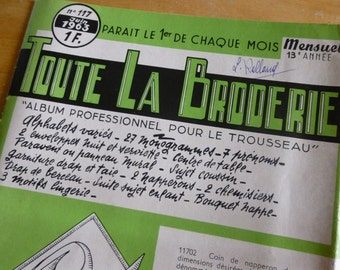 French  Linen Monogram Embroidery Pattern Booklet  Tout La Brodrie, Dated 1963
