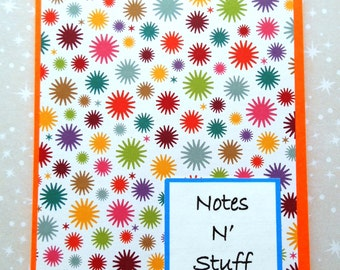 Colored Notepad, Rainbow Star Bursts