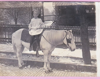 """Ca. 1909 """"Girl on a Horse"""" Real Photo Postcard - 1656"""