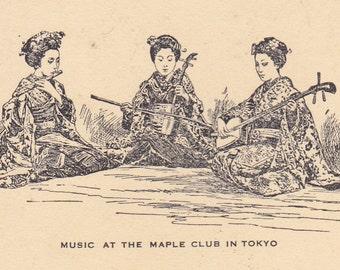 """Vintage 1930s """"Maple Club"""" Tokyo Christmas Greetings Ink Blotter - 14"""