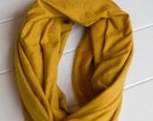 Mustard Yellow Stretch Jersey Knit Infinity Scarf