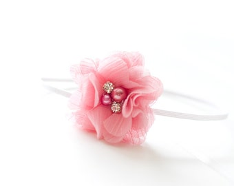 Newborn or Girls Dusty Rose Chiffon Flower Skinny Headband & Photography Prop