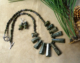 SALE!!  19 Inch Olive Green Serpentine Stick Bead Necklace with Earrings
