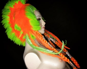 READY TO SHIP uv reactive mohawk Psychedelic reactive rave goth club kid feather headdress headpiece tribal fantasy