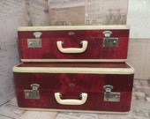 Vintage ABC Abel and Bach Better Luggage Set, Red and White Luggage,