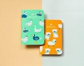 Animal Playground (Birdies, Pugs) Mossery Pocket Notebooks, Set of 2