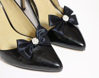 Shoe clips - simple black bow with crystal center
