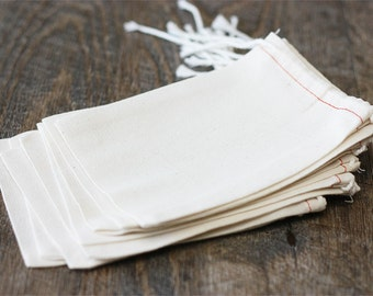 10 Cotton Blend Muslin Bags (3x5). Supplies. Gift Wrap.