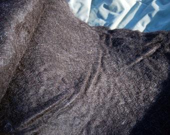 "Dark brown/black Felted Batt out of 100% Llama Fiber - Home Grown in Indiana - USA, 34"" X 46"""