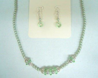 Set of Pale Green Seed Pearl Necklace With Pale Green Crystal Rings and Sterling Round Beads and Matching Pierced Dangle Earrings