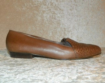 Shoes Ladies Cappagallo Woven Front Flats 1980's Brown Leather Made in Brazil Size 8N Great Condition