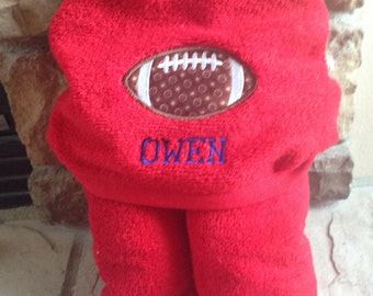 Personalized Hooded Towel | football towel