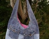 up-cycled denim over the shoulder bag with pockets and pink lining